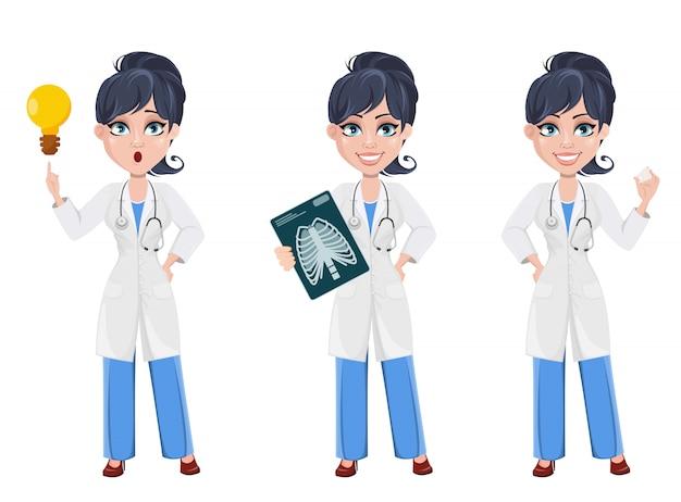 Doutor mulher. médico de personagem de desenho animado bonito