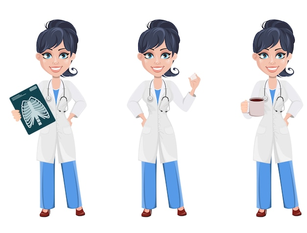 Doutor, mulher, profissional, pessoal médico