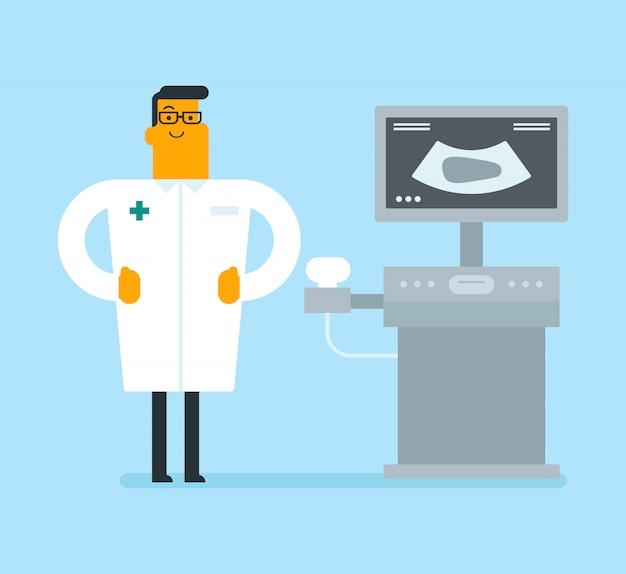 Doutor novo do ultra-som com equipamento do ultra-som.