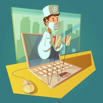 Doutor on-line e conceito de laptop