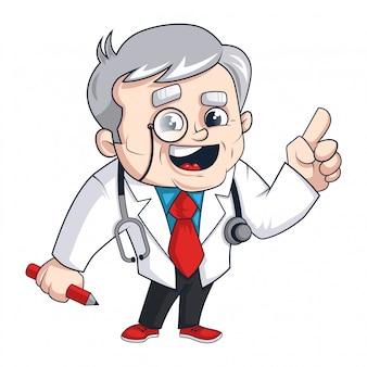 Doutor personagem com estetoscópio e caneta vector free