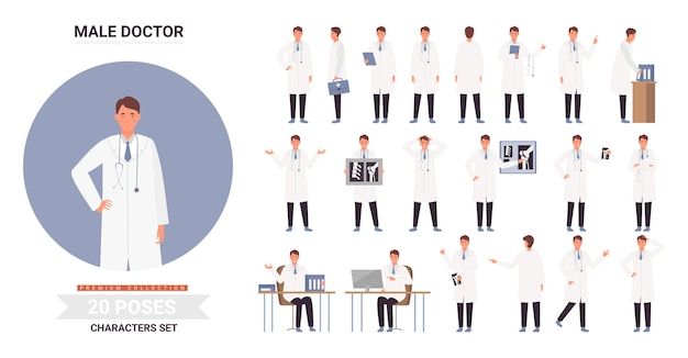 Doutor personagem masculino posa conjunto de ilustração infográfico.
