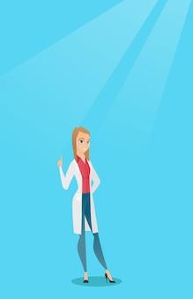 Doutor que mostra o dedo acima da ilustração do vetor.