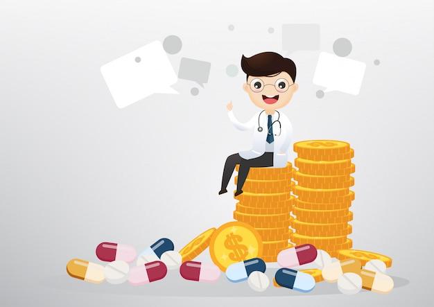 Doutor que senta-se no conceito das moedas, do negócio e dos cuidados médicos. vetor, ilustração
