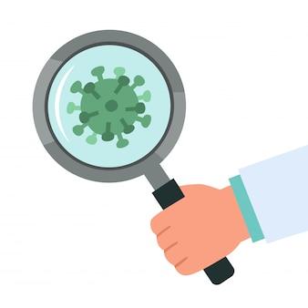 Doutor saudável que olha através da lupa que digitaliza o vírus covid-19 corona. descoberto vírus da coroa covid-19. proteção antivírus. ilustração