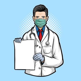Doutor, segurando a ilustração de papel