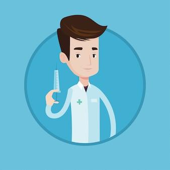 Doutor, segurando a ilustração vetorial de seringa.