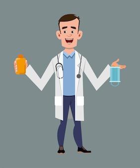 Doutor, segurando e mostrando a garrafa de gel desinfetante e máscara facial