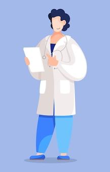 Doutor segurando os resultados da análise ou diagnóstico do paciente.