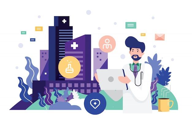 Doutor, segurando, tabuleta, com, dados, gráficos