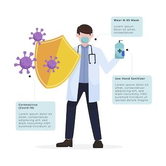 Doutor, segurando um desinfetante para as mãos e um escudo para impedir a transmissão de coronavírus