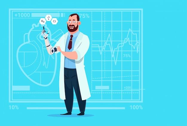 Doutor, trabalhando, com, robotic, mão, artificial, membro, clínicas médicas, trabalhador, hospitalar