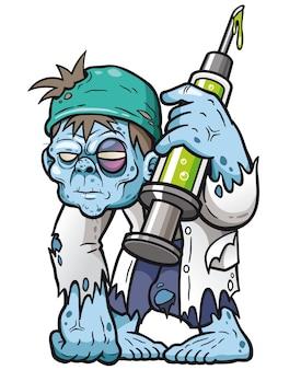 Doutor zombie dos desenhos animados