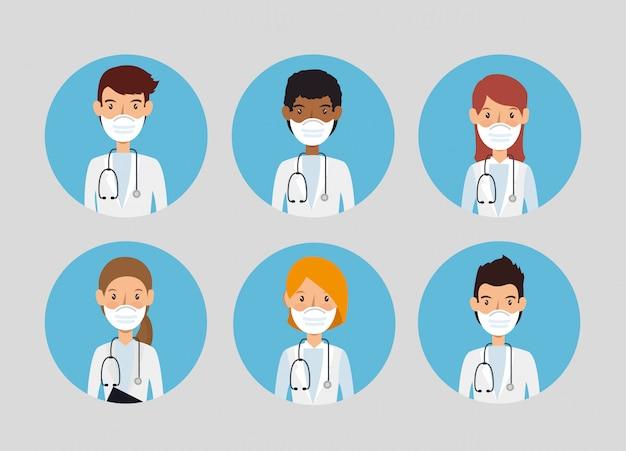 Doutores do grupo usando máscara facial isolada