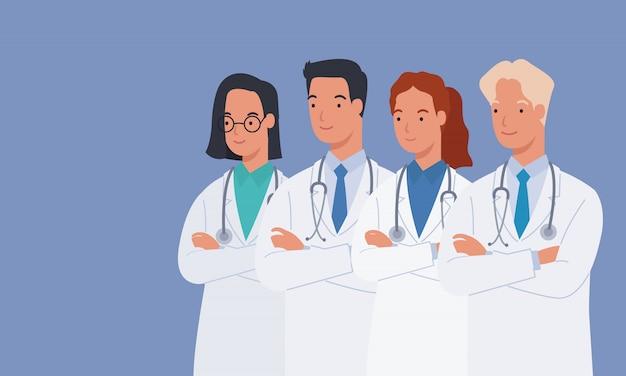 Doutores masculinos e femininos em jalecos médicos brancos em pé com os braços cruzados. grupo de médicos. ilustração em um estilo simples