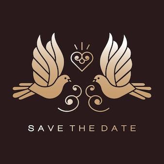 Doves birds gold sinais de casal de casamento