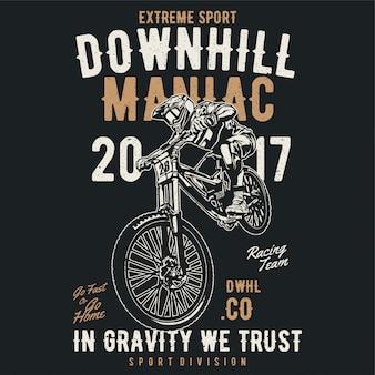 Downhill. bicicleta de montanha. esboçar a ilustração vetorial de estilo - vetor