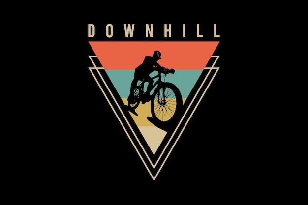 Downhill, ilustração de desenho à mão em estilo vintage retrô