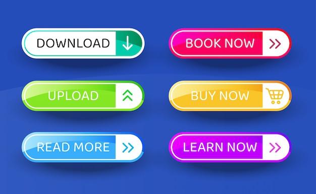 Download botão, conjunto de botões de estilo material moderno de vetor. cores e ícones diferentes do inclinação.