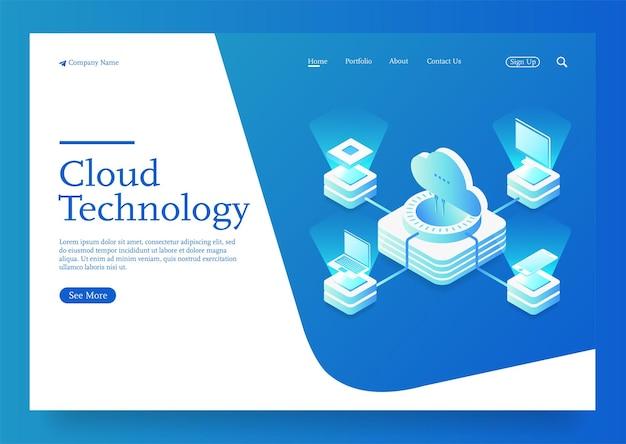 Download de armazenamento em nuvem ilustração vetorial isométrica serviço digital ou aplicativo com transferência de dados