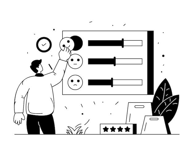 Download premium do design da linha de satisfação do cliente