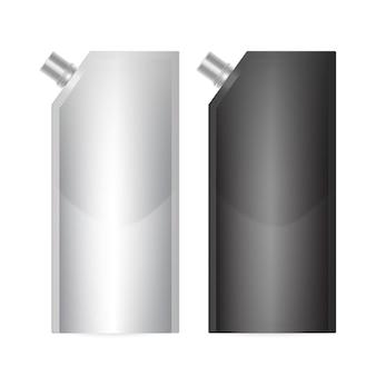 Doy-pack blank nas cores preto e branco, com tampa de bico de canto.