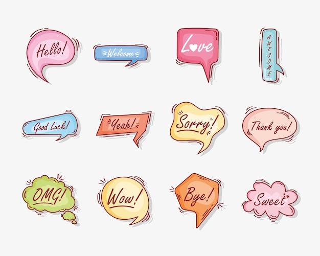 Doze balões de texto rabiscam ícones