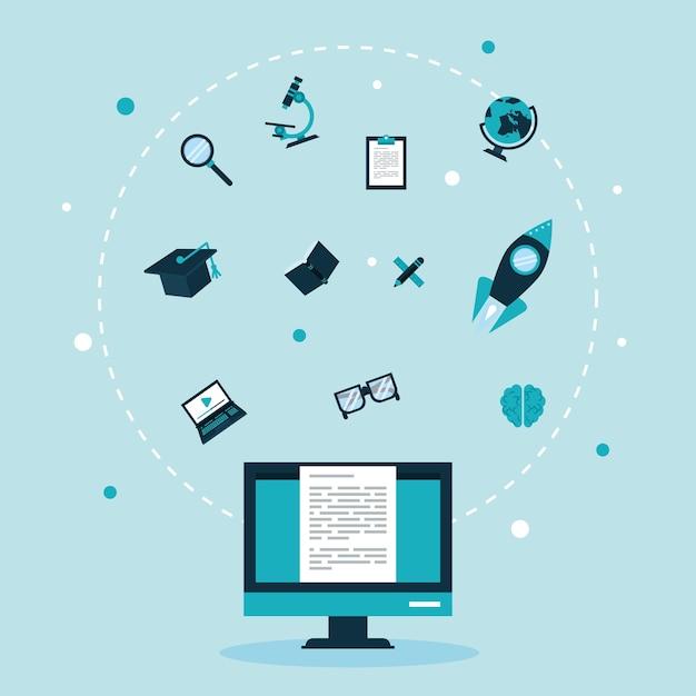Doze ícones de conjunto de conceitos de educação