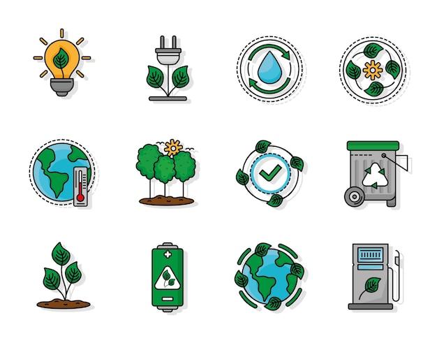 Doze ícones de ecologia