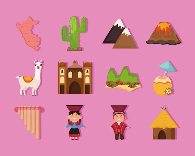 Doze ícones de países peruanos