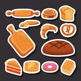 Doze ícones de pastelaria doce