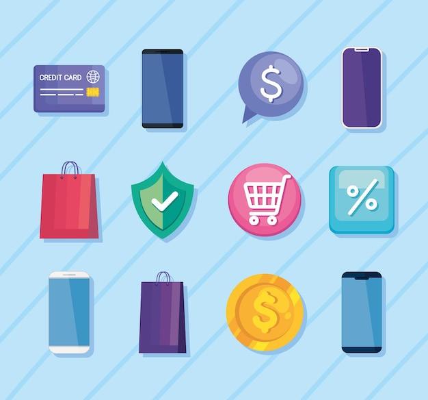 Doze ícones de tecnologia de compra