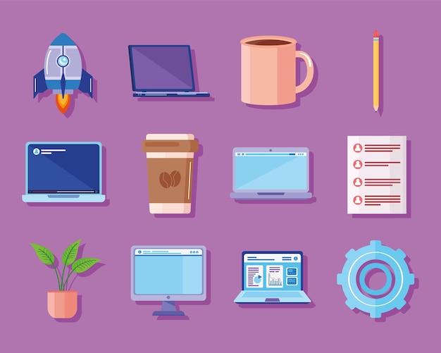 Doze ícones de tecnologia de computadores