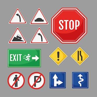Doze sinais de trânsito rodoviário