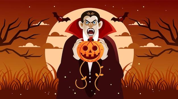 Drácula assustador segurando abóbora de halloween