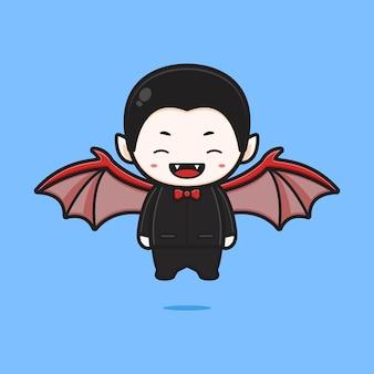 Drácula bonito com ilustração do ícone dos desenhos animados de asa de morcego. projeto isolado estilo cartoon plana