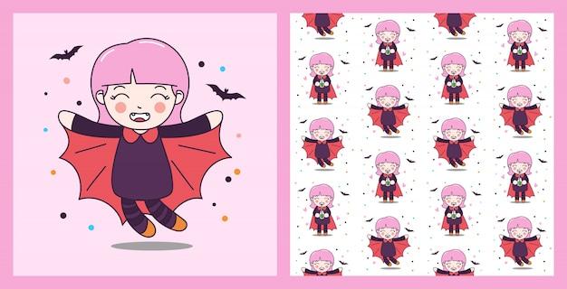 Drácula bonito menina voar com ilustração de morcego e padrão sem emenda