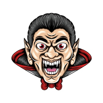 Drácula com os dentes afiados e olhos grandes ele usando sua fantasia