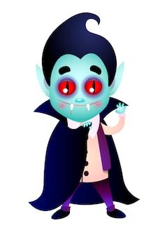 Dracula com presas sangrentas acenando a mão e cobrindo o corpo com capa