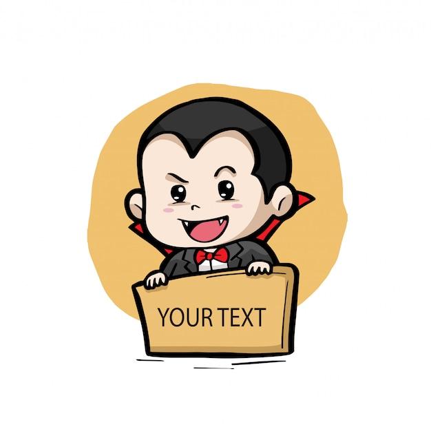 Drácula com uma placa de texto
