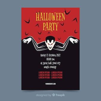 Drácula de vampiro no pôster de festa de halloween plana