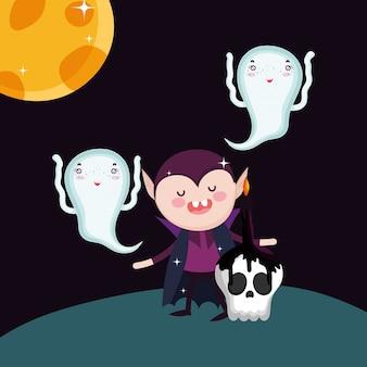 Drácula fantasma crânio velas lua dia das bruxas