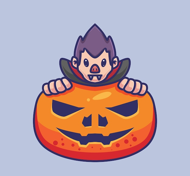Drácula fofo se esconde em uma abóbora gigante. ilustração isolada de halloween dos desenhos animados. estilo simples adequado para vetor de logotipo premium de design de ícone de etiqueta. personagem mascote