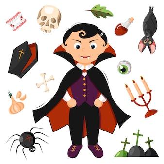 Drácula halloween com vários acessórios de vampiros.