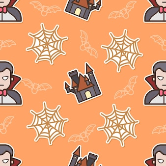 Drácula sem costura padrão no dia de halloween