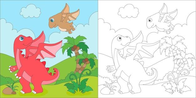 Dragão alado para colorir