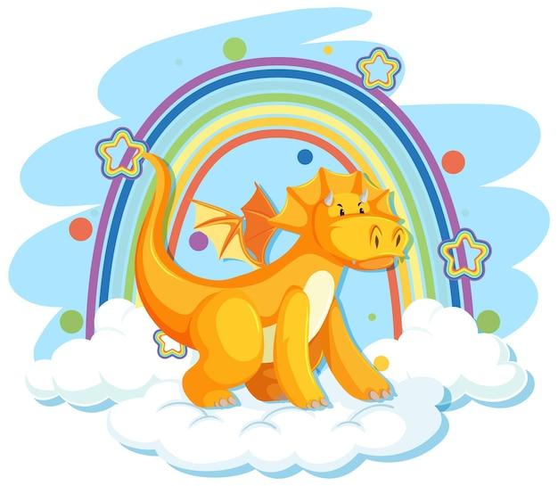 Dragão amarelo fofo na nuvem com arco-íris