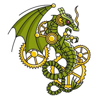 Dragão assustador do steampunk
