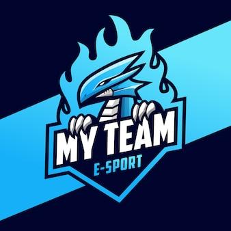 Dragão azul e modelo de logotipo do esporte