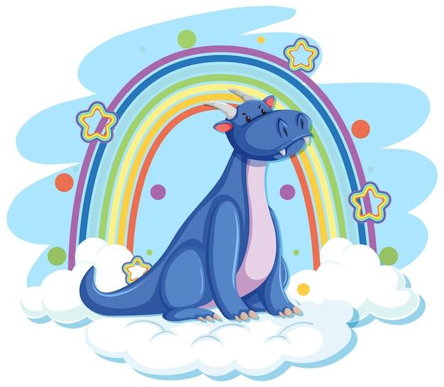 Dragão azul fofo na nuvem com arco-íris